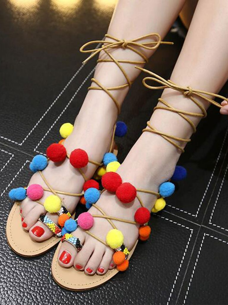 34Multicolor Pom Pom Tie Leg Flat Sandals Zonewetwo