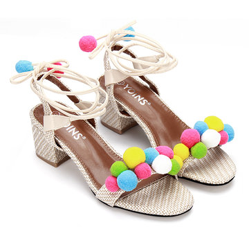 Apricot Woven Strap Across With Pompoms Lace-up Heeled Sandals YOINS