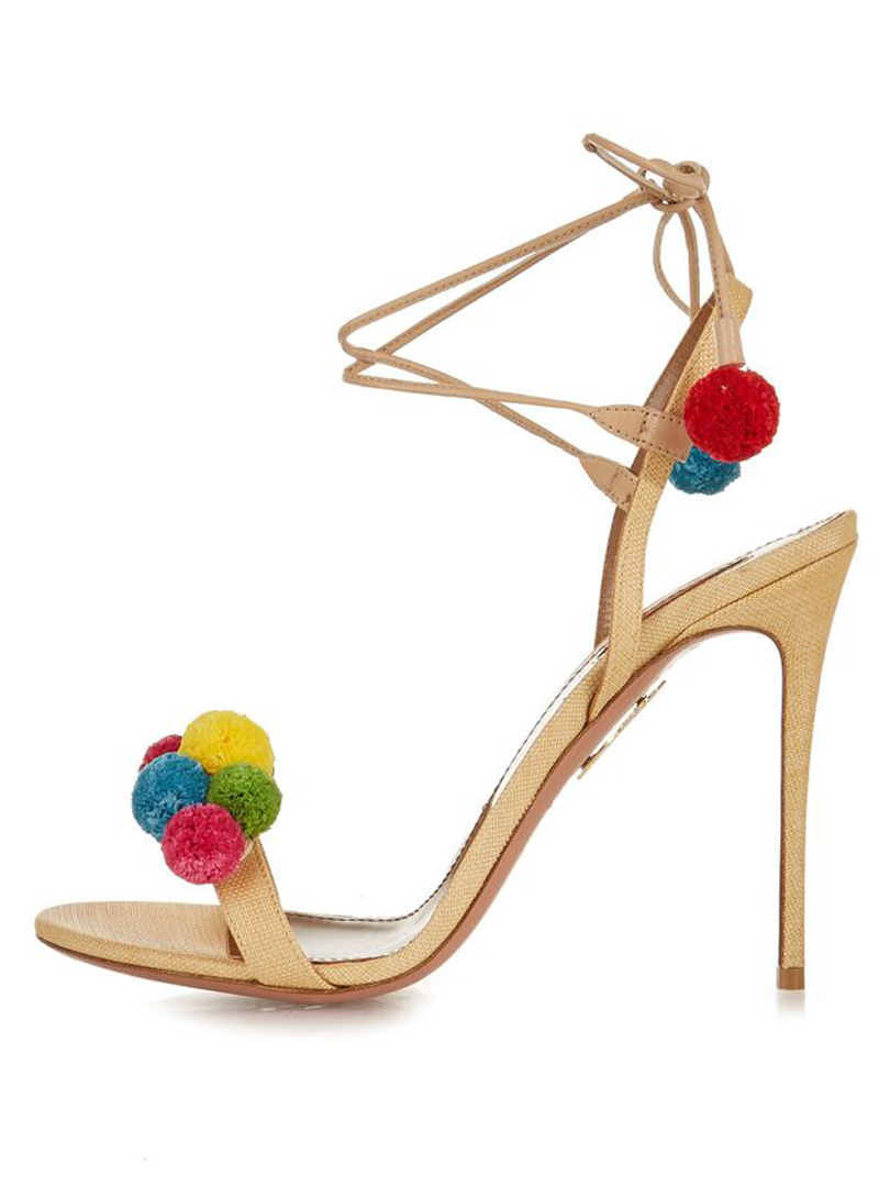 Bestowal Beige Lace Up Pom Pom Detail Heeled Sandals choice